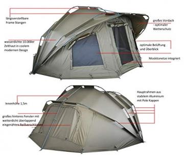 MK-Angelsport Fort Knox 2 Personen Zelt Karpfenzelt Angelzelt komplettes Set incl. Gummihammer Dome Bivvy - 4