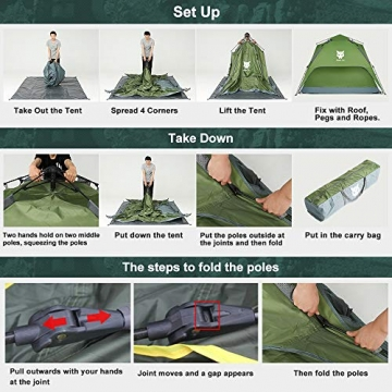 Night Cat Zelt 2 3 Personen Mann Wasserdicht Pop Up Zelt Camping Atmungsaktiv Einfache Einrichtungs für Outdoor Wandern Doppelschicht - 2