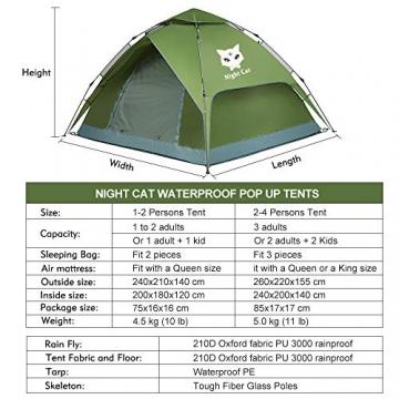 Night Cat Zelt 2 3 Personen Mann Wasserdicht Pop Up Zelt Camping Atmungsaktiv Einfache Einrichtungs für Outdoor Wandern Doppelschicht - 6