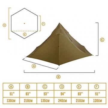OneTigris Ultraleicht Pyramiden-Zelt mit Bergstock Campingzelt für 2 Personen |MEHRWEG Verpackung (Coyote Braun) - 3