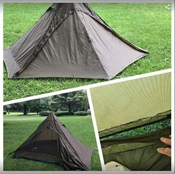 OneTigris Ultraleicht Pyramiden-Zelt mit Bergstock Campingzelt für 2 Personen |MEHRWEG Verpackung (Coyote Braun) - 4