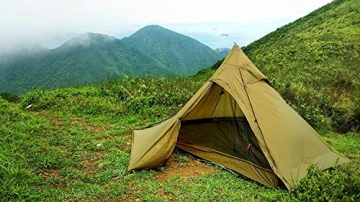 OneTigris Ultraleicht Pyramiden-Zelt mit Bergstock Campingzelt für 2 Personen |MEHRWEG Verpackung (Coyote Braun) - 1