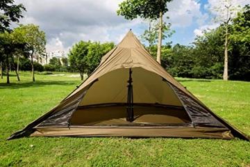 OneTigris Ultraleicht Pyramiden-Zelt mit Bergstock Campingzelt für 2 Personen |MEHRWEG Verpackung (Coyote Braun) - 5
