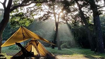 OneTigris Ultraleicht Pyramiden-Zelt mit Bergstock Campingzelt für 2 Personen |MEHRWEG Verpackung (Coyote Braun) - 6