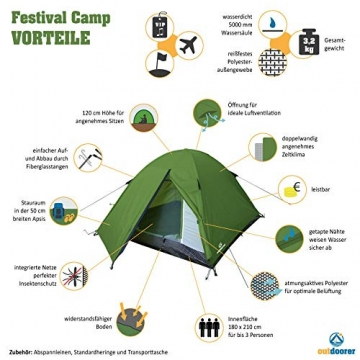 outdoorer Festivalzelt Festival Camp - als 2-3 Personen-Zelt wasserdicht und doppelwandig, ideales Campingzelt - 2
