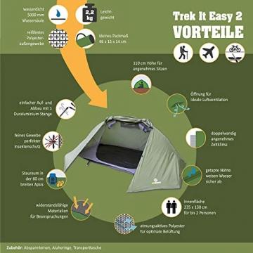 outdoorer Trekkingzelt für 1-2 Personen Trek It Easy 2, leichtes Schnellaufbau-Zelt, kleines Packmaß - 2