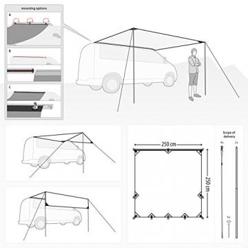 Qeedo Motor Tarp, Campingbus Sonnensegel, Camper, Wohnwagen, Sonnenschutz Campingmobil, Einfache Montage - 4