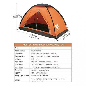 Ruckzuck Zelt 1 Personen Mann Wasserdicht Zelt Leicht Camping Atmungsaktiv Einfache Einrichtungs für Outdoor Wandern Doppelschicht - 4