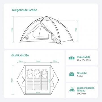 Sable Pop Up Zelt 3 Personen Wurfzelt zweischichtiges Kuppelzelt Winddicht Wasserdicht und Schnellaufbau für Camping Trekking Outdoor, 210 x 190 x 120 cm, Kleines Packmaß, inkl. Aufbewahrungstasche - 4