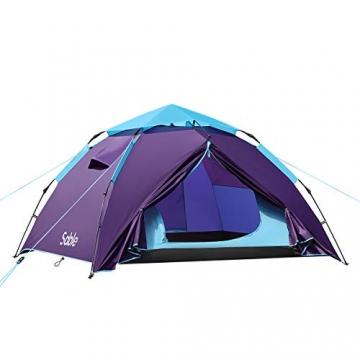 Sable Pop Up Zelt 3 Personen Wurfzelt zweischichtiges Kuppelzelt Winddicht Wasserdicht und Schnellaufbau für Camping Trekking Outdoor, 210 x 190 x 120 cm, Kleines Packmaß, inkl. Aufbewahrungstasche - 1