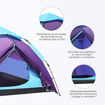 Sable Pop Up Zelt 3 Personen Wurfzelt zweischichtiges Kuppelzelt Winddicht Wasserdicht und Schnellaufbau für Camping Trekking Outdoor, 210 x 190 x 120 cm, Kleines Packmaß, inkl. Aufbewahrungstasche - 5