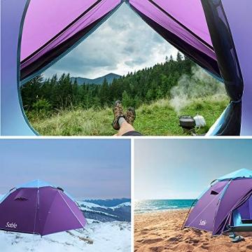 Sable Pop Up Zelt 3 Personen Wurfzelt zweischichtiges Kuppelzelt Winddicht Wasserdicht und Schnellaufbau für Camping Trekking Outdoor, 210 x 190 x 120 cm, Kleines Packmaß, inkl. Aufbewahrungstasche - 8