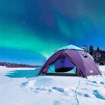 Sable Pop Up Zelt 3 Personen Wurfzelt zweischichtiges Kuppelzelt Winddicht Wasserdicht und Schnellaufbau für Camping Trekking Outdoor, 210 x 190 x 120 cm, Kleines Packmaß, inkl. Aufbewahrungstasche - 9