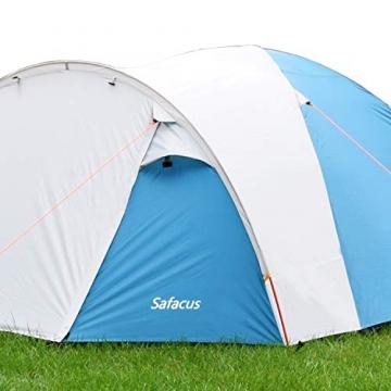 SAFACUS 4 Mann Camping Zelt, mit Vorraum; Iglu-Zelt für 4 Personen (doppelwandig) - blau, Mit Kleinem Packmaß, Outdoor, Festival - 2
