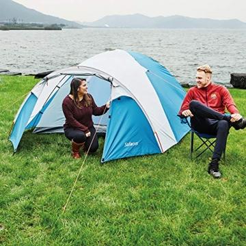 SAFACUS 4 Mann Camping Zelt, mit Vorraum; Iglu-Zelt für 4 Personen (doppelwandig) - blau, Mit Kleinem Packmaß, Outdoor, Festival - 3