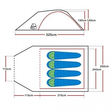 SAFACUS 4 Mann Camping Zelt, mit Vorraum; Iglu-Zelt für 4 Personen (doppelwandig) - blau, Mit Kleinem Packmaß, Outdoor, Festival - 7