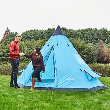 SAFACUS Tipi Zelt (Teepee),Indianerzelt, 4-6 Personen Familien Camping Zelt Pyramidenzelt, Doppeltür, Festival, Campingurlaub - 2