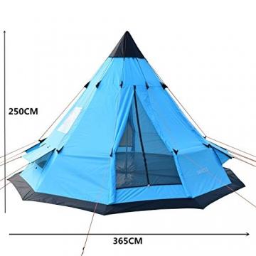 SAFACUS Tipi Zelt (Teepee),Indianerzelt, 4-6 Personen Familien Camping Zelt Pyramidenzelt, Doppeltür, Festival, Campingurlaub - 4