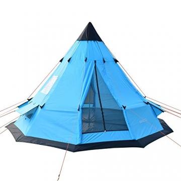 SAFACUS Tipi Zelt (Teepee),Indianerzelt, 4-6 Personen Familien Camping Zelt Pyramidenzelt, Doppeltür, Festival, Campingurlaub - 1