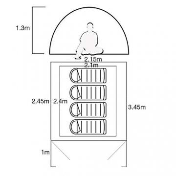 Semoo Kuppelzelt für 3-4 Personen 3-Jahreszeiten, Familien Campingzelt Wasserdichtes Igluzelt Doppelschicht mit Vorraum - 2