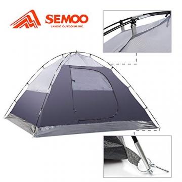 Semoo Kuppelzelt für 3-4 Personen 3-Jahreszeiten, Familien Campingzelt Wasserdichtes Igluzelt Doppelschicht mit Vorraum - 3
