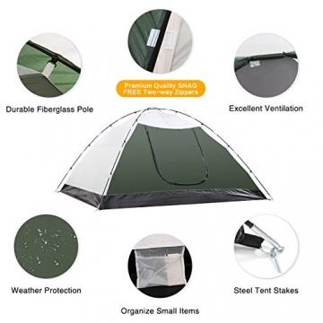 Semoo Leichtgewicht Campingzelt 3 Personen, für 4 Jahreszeiten, D-Eingang, mit Moskitonetz, mit Tragetasche - 2