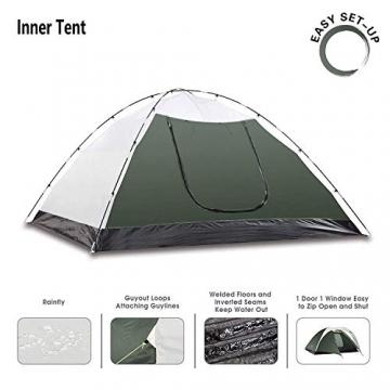 Semoo Leichtgewicht Campingzelt 3 Personen, für 4 Jahreszeiten, D-Eingang, mit Moskitonetz, mit Tragetasche - 4