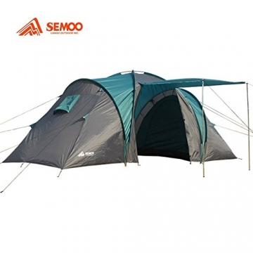 Semoo - Zelt für 4 Personen - Wasserdicht - 2 Schlafkammern + Zwischenraum mit 2 Eingängen - 3-Jahreszeiten Familien-/Gruppenzelt - Blau/Grau - 2