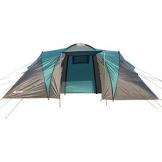 Semoo - Zelt für 4 Personen - Wasserdicht - 2 Schlafkammern + Zwischenraum mit 2 Eingängen - 3-Jahreszeiten Familien-/Gruppenzelt - Blau/Grau - 1