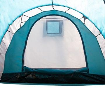 Semoo - Zelt für 4 Personen - Wasserdicht - 2 Schlafkammern + Zwischenraum mit 2 Eingängen - 3-Jahreszeiten Familien-/Gruppenzelt - Blau/Grau - 4