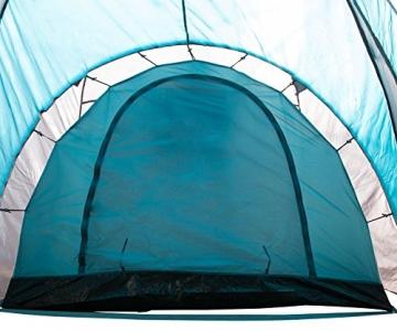 Semoo - Zelt für 4 Personen - Wasserdicht - 2 Schlafkammern + Zwischenraum mit 2 Eingängen - 3-Jahreszeiten Familien-/Gruppenzelt - Blau/Grau - 5
