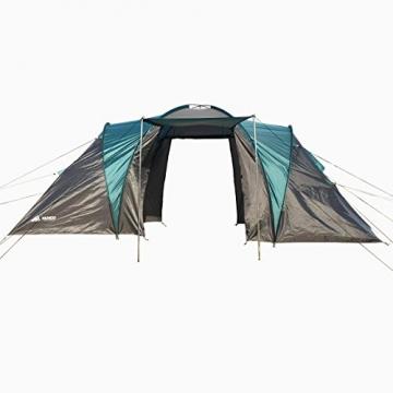 Semoo - Zelt für 4 Personen - Wasserdicht - 2 Schlafkammern + Zwischenraum mit 2 Eingängen - 3-Jahreszeiten Familien-/Gruppenzelt - Blau/Grau - 6