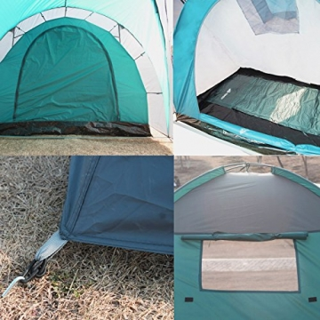 Semoo - Zelt für 4 Personen - Wasserdicht - 2 Schlafkammern + Zwischenraum mit 2 Eingängen - 3-Jahreszeiten Familien-/Gruppenzelt - Blau/Grau - 7