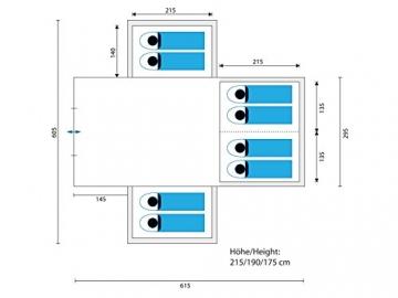 skandika Nimbus 8-Personen Familien/Gruppenzelt, 3 Schlafkabinen, Frontwand verstellbar, 200 cm Stehhöhe - 3