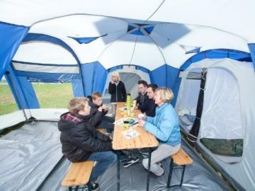 skandika Nimbus 8-Personen Familien/Gruppenzelt, 3 Schlafkabinen, Frontwand verstellbar, 200 cm Stehhöhe - 8