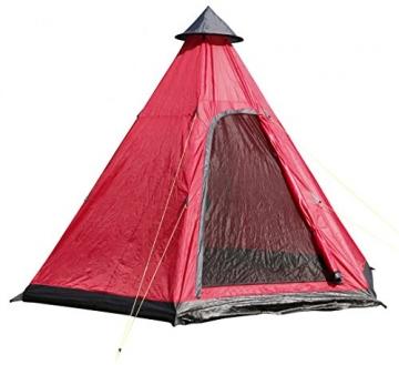 Spetebo Camping Zelt für 4 Personen - Pyramidenzelt in rot / 350 x 300 cm - Familienzelt Tipi Rundzelt - 1