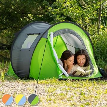 TecTake 800213 Pop-Up Wurfzelt für 2 Personen, Inkl. Spannseile, Heringe und Praktischer Tragetasche - Diverse Farben (Grün-Grau | Nr. 401675) - 2