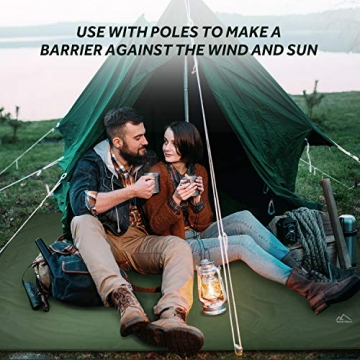 Terra Hiker Camping Zelt Tarp, Outdoor Plane, wasserdichte Picknickdecke mit Tragetasche (Dunkelgrün S: 150 cm x 220 cm) - 2