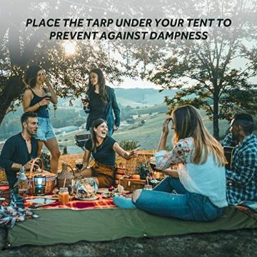 Terra Hiker Camping Zelt Tarp, Outdoor Plane, wasserdichte Picknickdecke mit Tragetasche (Dunkelgrün S: 150 cm x 220 cm) - 5