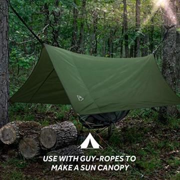 Terra Hiker Camping Zelt Tarp, Outdoor Plane, wasserdichte Picknickdecke mit Tragetasche (Dunkelgrün S: 150 cm x 220 cm) - 6