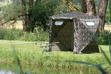 UHATEX Angelzelt 2 Mann, Karpfenzelt, Wetterschutzzelt ohne Boden, Camouflage, in 30 Sekunden allein auf- und abgebaut - 2