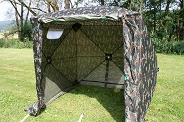 UHATEX Angelzelt 2 Mann, Karpfenzelt, Wetterschutzzelt ohne Boden, Camouflage, in 30 Sekunden allein auf- und abgebaut - 6