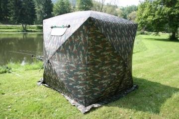 UHATEX Angelzelt 2 Mann, Karpfenzelt, Wetterschutzzelt ohne Boden, Camouflage, in 30 Sekunden allein auf- und abgebaut - 8