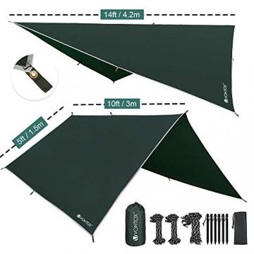 V VONTOX Zeltplane Wasserdicht, 3x3m-PU3000mm Regen Fliegen Sonnenschutz für Zelt, Anti-UV, Leichte Tragbare für Camping, Reisen, Hängematten Zelt Tarp - 3