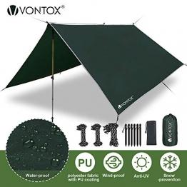 V VONTOX Zeltplane Wasserdicht, 3x3m-PU3000mm Regen Fliegen Sonnenschutz für Zelt, Anti-UV, Leichte Tragbare für Camping, Reisen, Hängematten Zelt Tarp - 1
