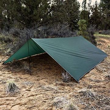 V VONTOX Zeltplane Wasserdicht, 3x3m-PU3000mm Regen Fliegen Sonnenschutz für Zelt, Anti-UV, Leichte Tragbare für Camping, Reisen, Hängematten Zelt Tarp - 4