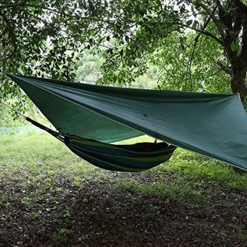 V VONTOX Zeltplane Wasserdicht, 3x3m-PU3000mm Regen Fliegen Sonnenschutz für Zelt, Anti-UV, Leichte Tragbare für Camping, Reisen, Hängematten Zelt Tarp - 7