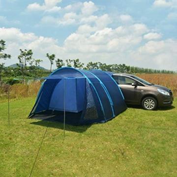 vidaXL Campingzelt Tunnelzelt Familienzelt Gruppenzelt Buszelt Bus Vorzelt Busvorzelt Camping Zelt Strand 390x330x195 cm Blau Schlafkabine - 2