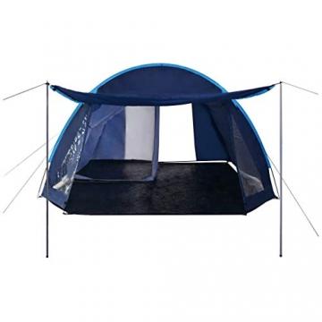 vidaXL Campingzelt Tunnelzelt Familienzelt Gruppenzelt Buszelt Bus Vorzelt Busvorzelt Camping Zelt Strand 390x330x195 cm Blau Schlafkabine - 3