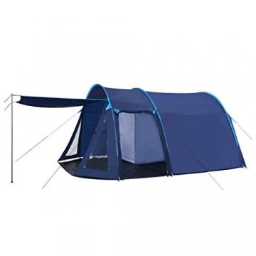 vidaXL Campingzelt Tunnelzelt Familienzelt Gruppenzelt Buszelt Bus Vorzelt Busvorzelt Camping Zelt Strand 390x330x195 cm Blau Schlafkabine - 1